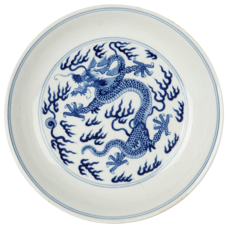 Chinese Qianlong Blue and White Dragon Dish, 1735-1796 For Sale