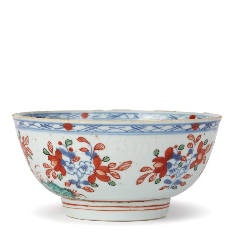 Hand-Painted Chinese Qianlong Overdecorated Porcelain Bowl, 18th Century For Sale