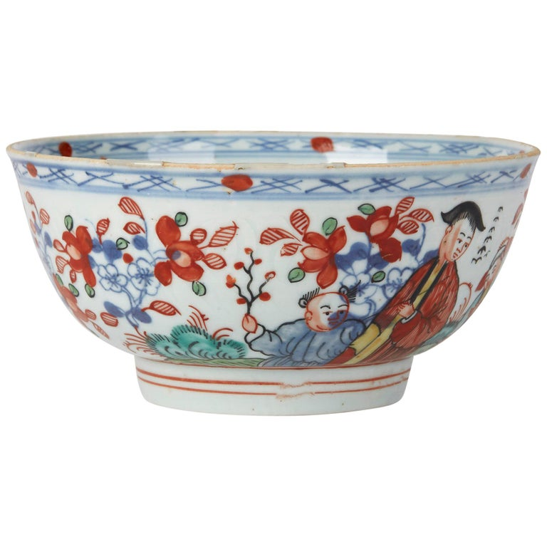 Chinese Qianlong Overdecorated Porcelain Bowl, 18th Century For Sale
