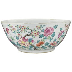 Chinese Qianlong Period Famille Rose Enamel Painted Porcelain Punch Bowl