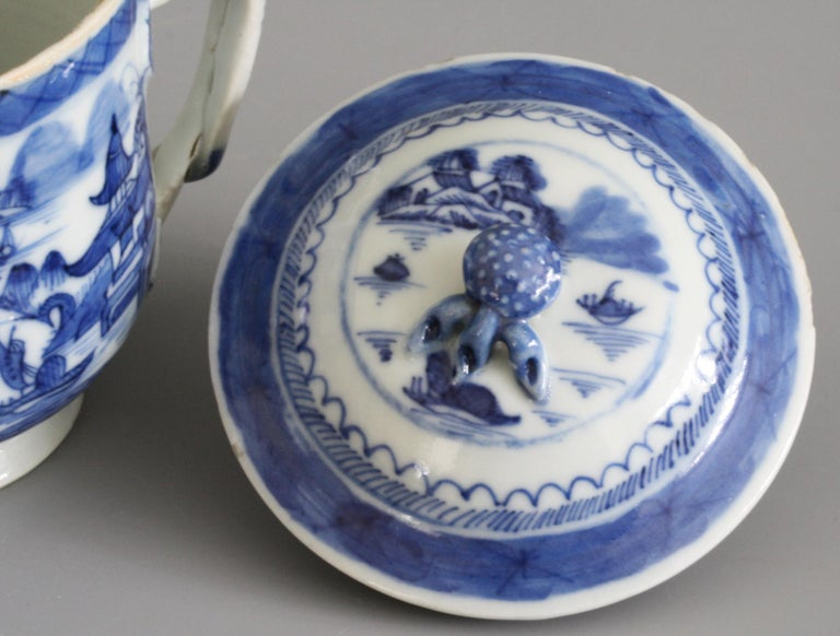 Qing Chinese Qianlong Style Twin Handled Blue and White Lidded Cup For Sale