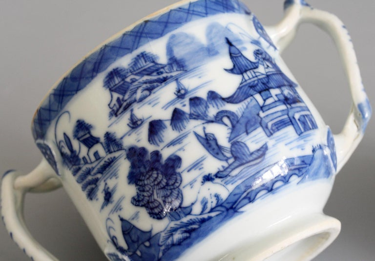 Hand-Painted Chinese Qianlong Style Twin Handled Blue and White Lidded Cup For Sale