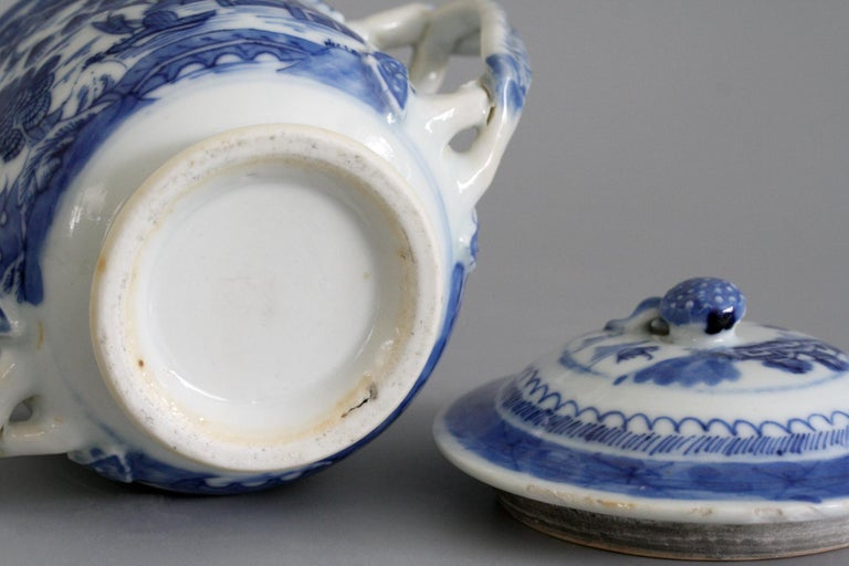 Porcelain Chinese Qianlong Style Twin Handled Blue and White Lidded Cup For Sale