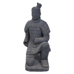 Chinese Qin Dynasty Style Life-Size Kneeling Terracotta Soldier Statue