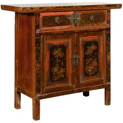 Chinese Qing 19th Century Cabinet with Original Lacquer and Hand Painted Motifs