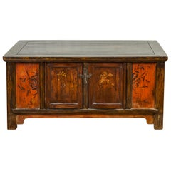 Chinese Qing 19th Century Coffee Table with Storage and Painted Floral Decor