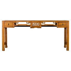 Chinese Qing 19th Century Elm Console Table with Two Drawers and Carved Motifs