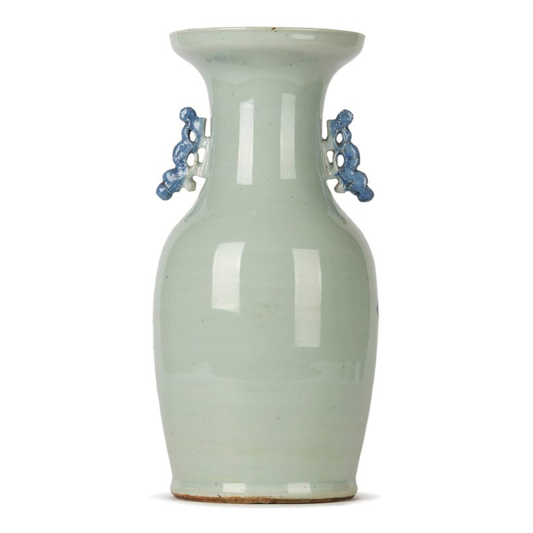 Glazed Chinese Qing Blue and White Celadon Bird Decorated Vase, 20th Century For Sale