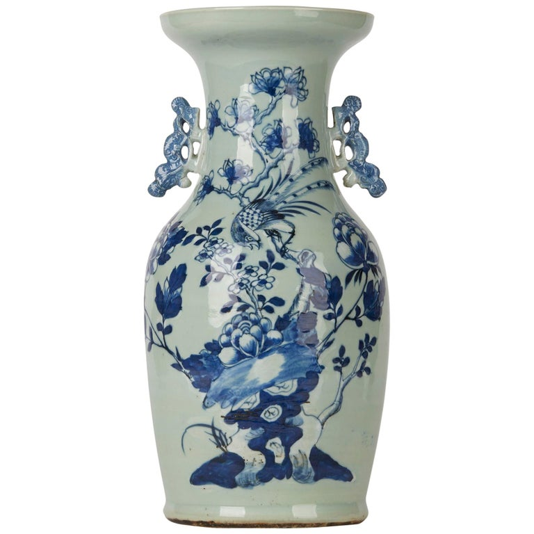 Chinese Qing Blue and White Celadon Bird Decorated Vase, 20th Century For Sale