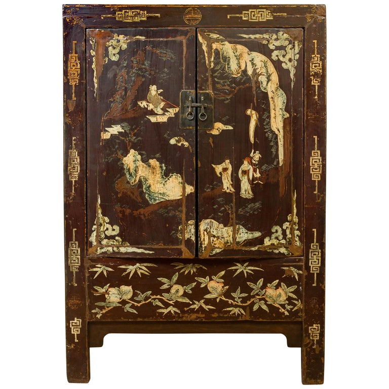 Chinese Qing Brown Lacquered Two-Door Cabinet with Hand Painted Chinoiserie For Sale
