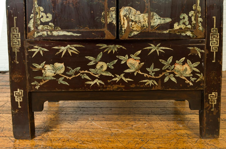Chinese Qing Brown Lacquered Two-Door Cabinet with Hand Painted Chinoiserie For Sale 4