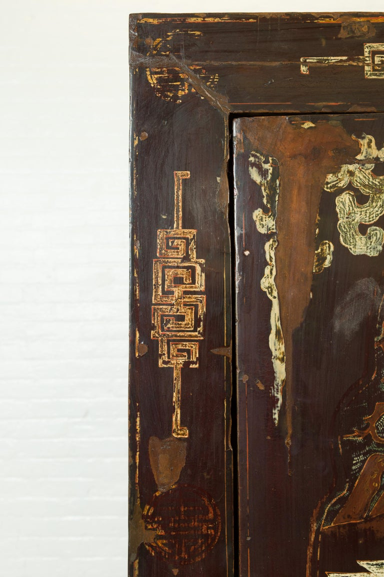 Chinese Qing Brown Lacquered Two-Door Cabinet with Hand Painted Chinoiserie For Sale 5