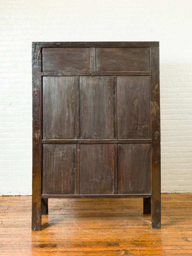 Chinese Qing Brown Lacquered Two-Door Cabinet with Hand Painted Chinoiserie For Sale 8