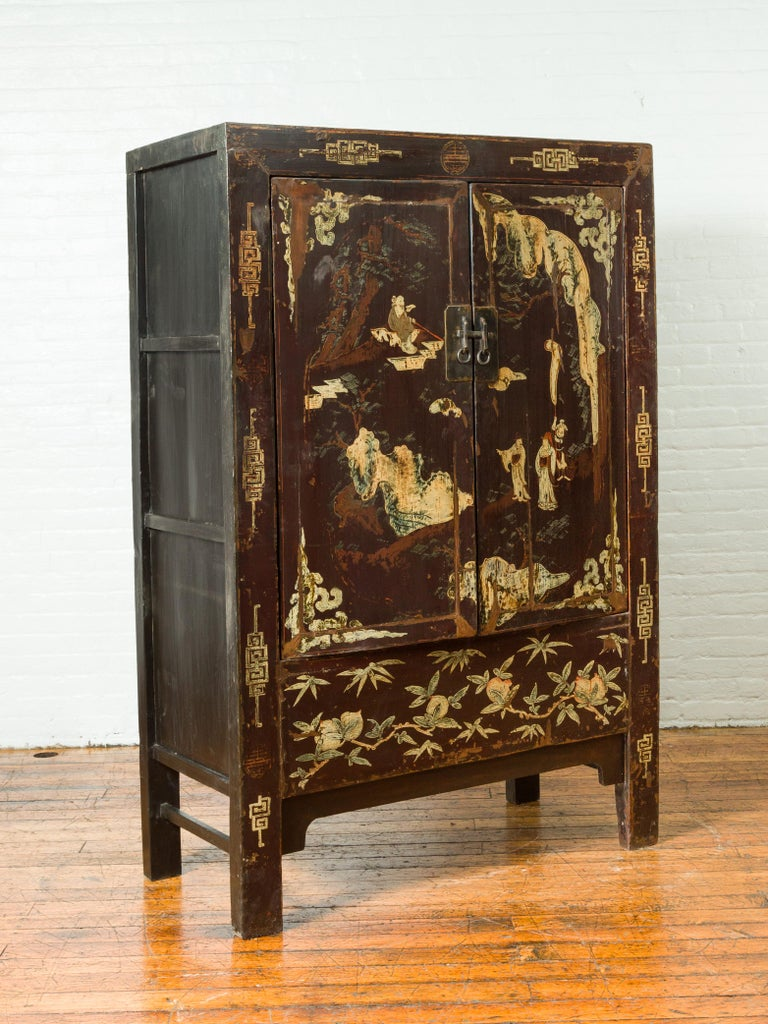 Hand-Painted Chinese Qing Brown Lacquered Two-Door Cabinet with Hand Painted Chinoiserie For Sale