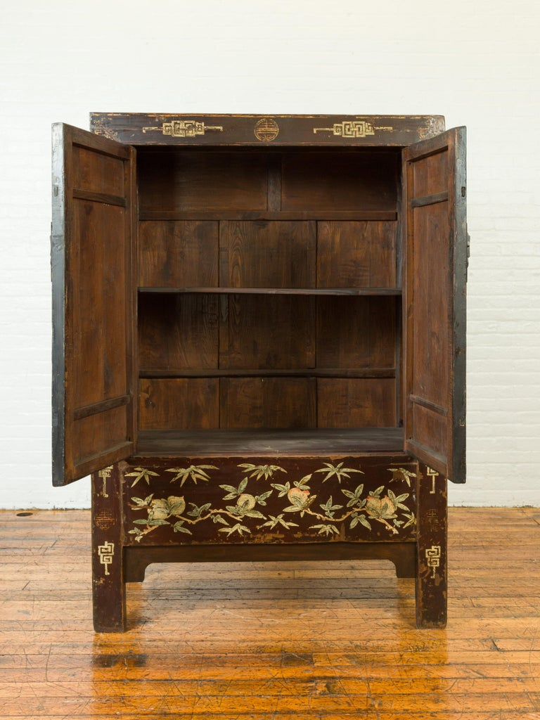 Chinese Qing Brown Lacquered Two-Door Cabinet with Hand Painted Chinoiserie In Good Condition For Sale In Yonkers, NY