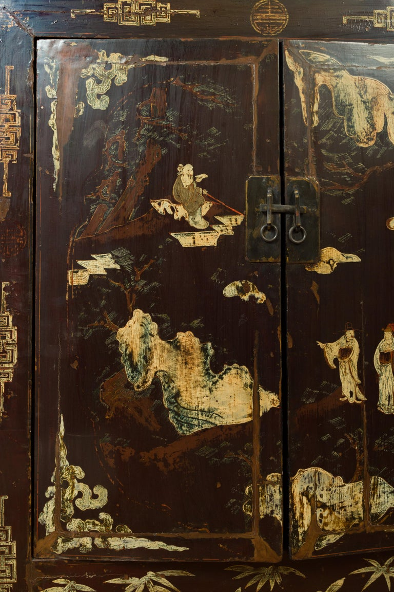 Wood Chinese Qing Brown Lacquered Two-Door Cabinet with Hand Painted Chinoiserie For Sale
