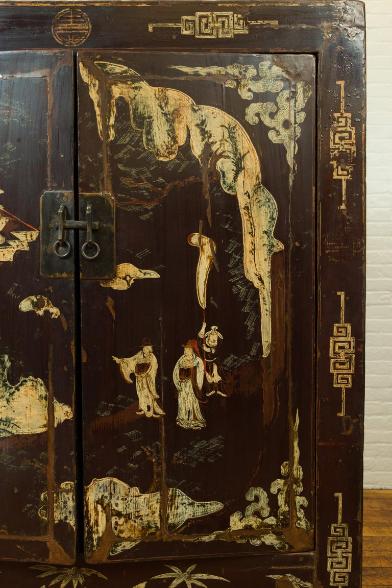 Chinese Qing Brown Lacquered Two-Door Cabinet with Hand Painted Chinoiserie For Sale 1