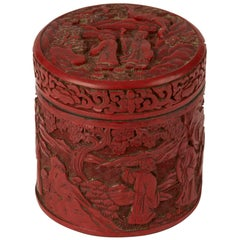 Chinese Qing Cinnabar Lacquer Lidded Box, 19th Century