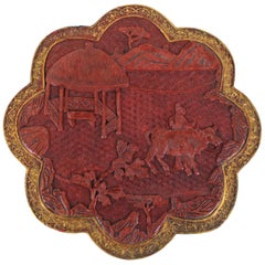 Chinese Qing Cinnabar Octagon in Floral Shape with Gold Leaf Edging
