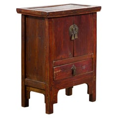Chinese Qing Dynasty 19th Century Bedside Table with Double Doors and Low Drawer
