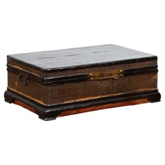 Chinese Qing Dynasty 19th Century Black Lacquer Blanket Chest with Rattan Inlay