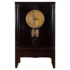 Chinese Qing Dynasty 19th Century Black Lacquer Cabinet with Large Medallion
