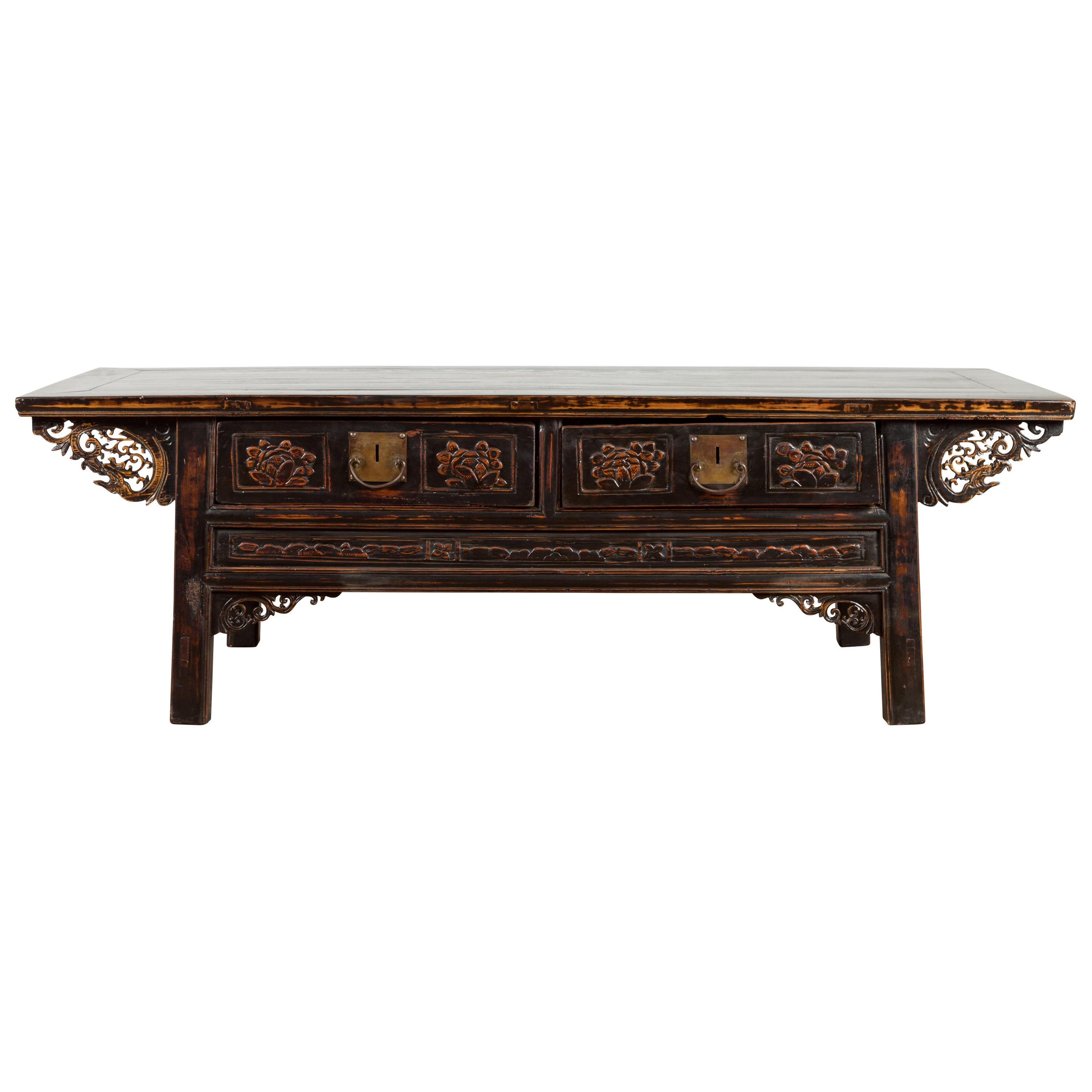 Chinese Qing Dynasty 19th Century Black Lacquer Coffee Table with Two Drawers