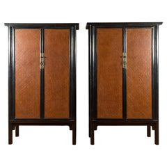 Chinese Qing Dynasty 19th Century Black Lacquered Cabinet with Rattan Doors