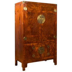 Chinese Qing Dynasty 19th Century Burl and Elm Cabinet with Brass Medallions