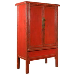 Chinese Qing Dynasty 19th Century Cabinet from Shanxi with Original Red Lacquer