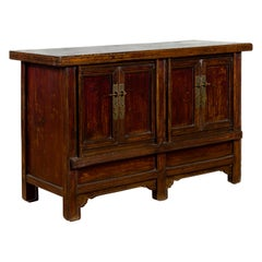 Chinese Qing Dynasty 19th Century Cabinet with Brown Lacquer and Double Doors