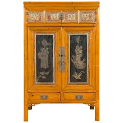 Chinese Qing Dynasty 19th Century Cabinet with Guanyin and Ceremonial Ancestors