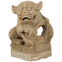Chinese Qing Dynasty 19th Century Carved Stone Foo Dog Guardian Lion Sculpture