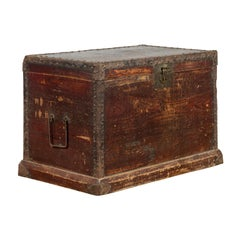 Chinese Qing Dynasty 19th Century Distressed Blanket Chest with Iron Fittings