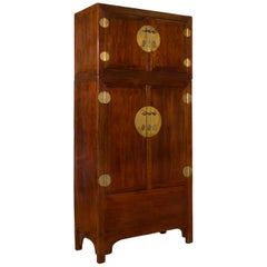 Chinese Qing Dynasty 19th Century Elm and Burl Wood Multiseason Compound Cabinet