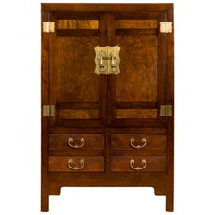 Chinese Qing Dynasty 19th Century Elm and Wood Cabinet with Doors and Drawers