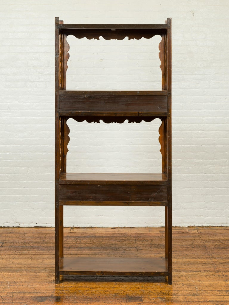Chinese Qing Dynasty 19th Century Elm Bookcase with Open Shelves and Drawers 9