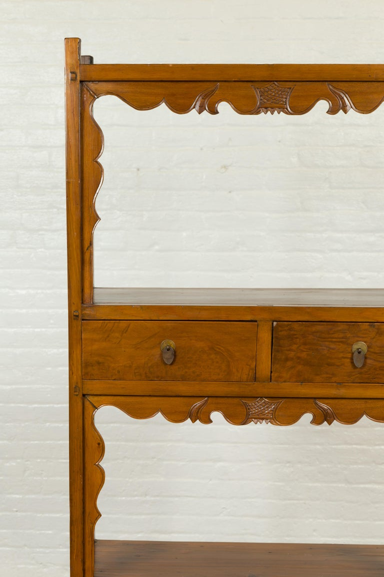 Carved Chinese Qing Dynasty 19th Century Elm Bookcase with Open Shelves and Drawers