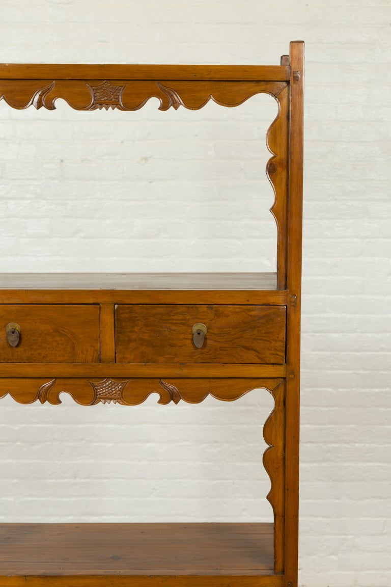 Chinese Qing Dynasty 19th Century Elm Bookcase with Open Shelves and Drawers In Good Condition In Yonkers, NY
