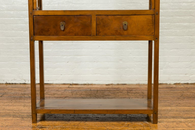 Chinese Qing Dynasty 19th Century Elm Bookcase with Open Shelves and Drawers 2