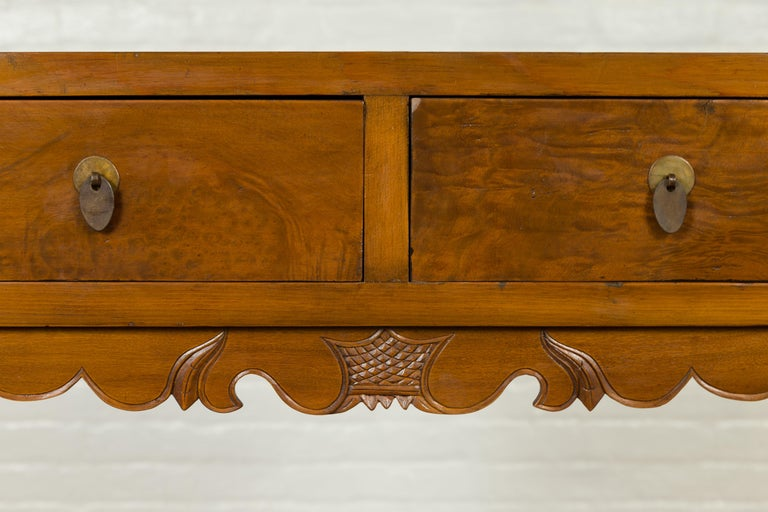 Chinese Qing Dynasty 19th Century Elm Bookcase with Open Shelves and Drawers 3