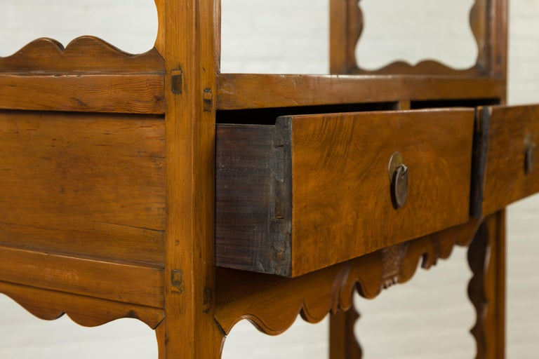 Chinese Qing Dynasty 19th Century Elm Bookcase with Open Shelves and Drawers 5