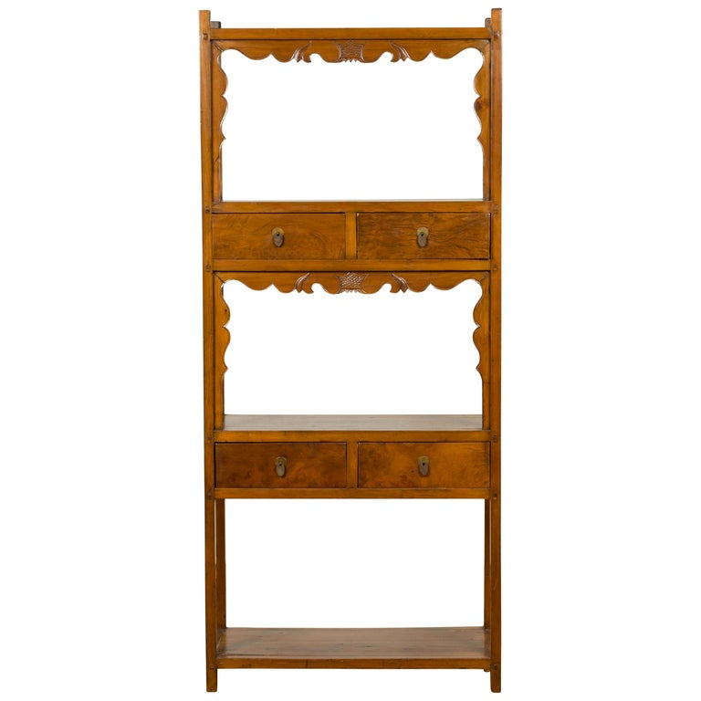 Chinese Qing Dynasty 19th Century Elm Bookcase with Open Shelves and Drawers
