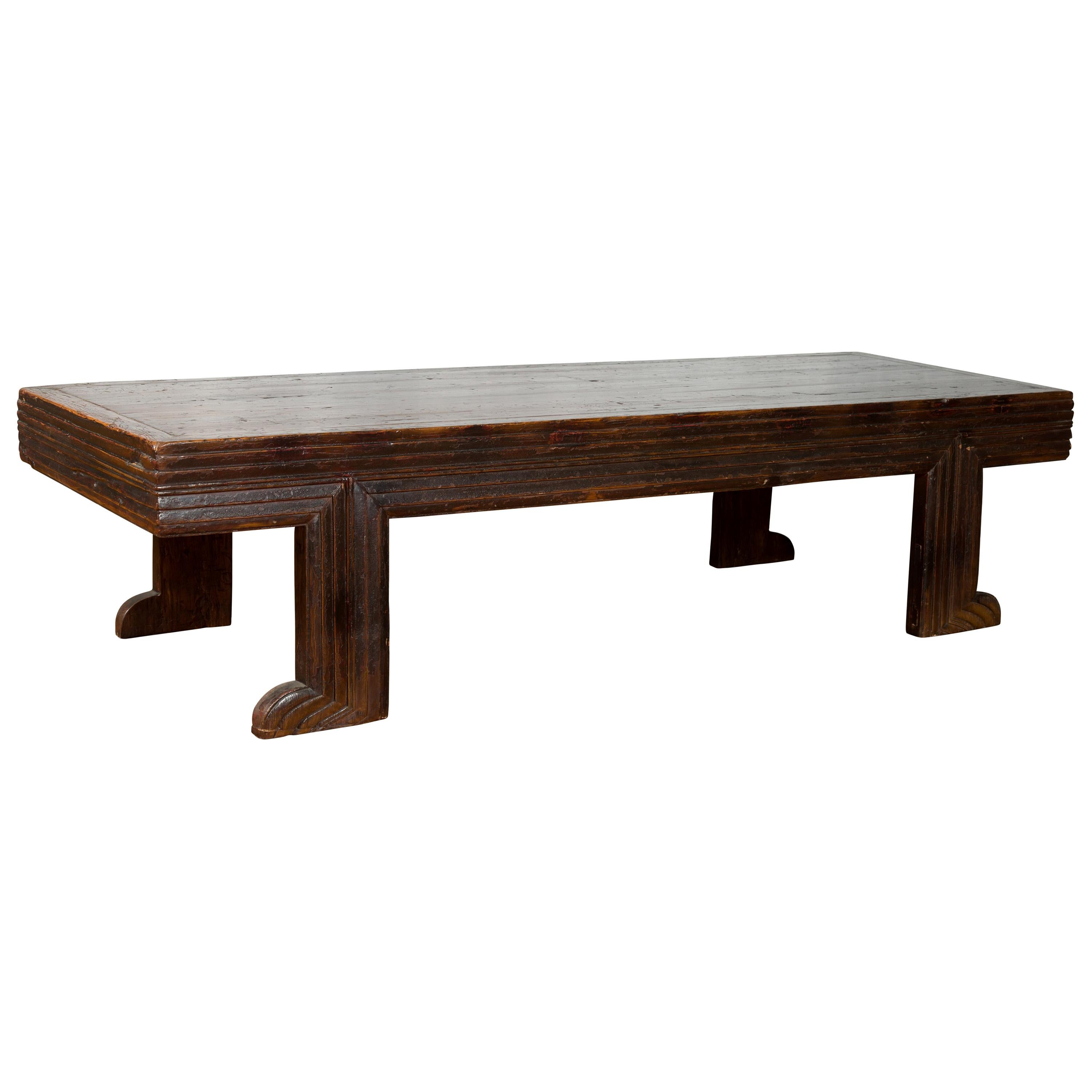 Chinese Qing Dynasty 19th Century Elm Coffee Table with Unusual Recessed Legs