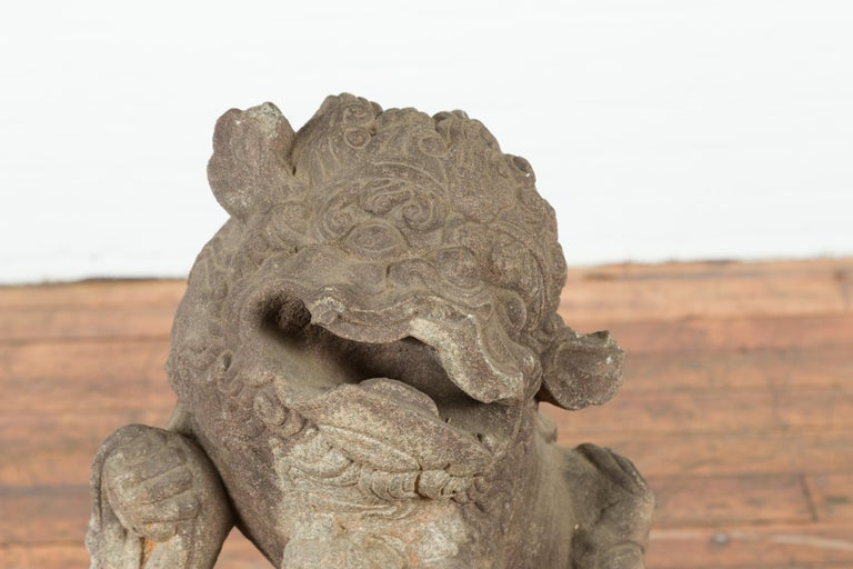 Stone Chinese Qing Dynasty 19th Century Hand-Carved Foo Dog Sculpture Mounted on Base For Sale