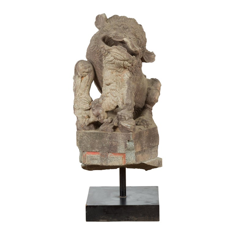 Chinese Qing Dynasty 19th Century Hand-Carved Foo Dog Sculpture Mounted on Base For Sale