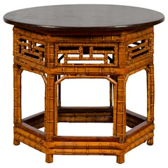 Chinese Qing Dynasty 19th Century Hexagonal Bamboo Side Table with Lacquered Top