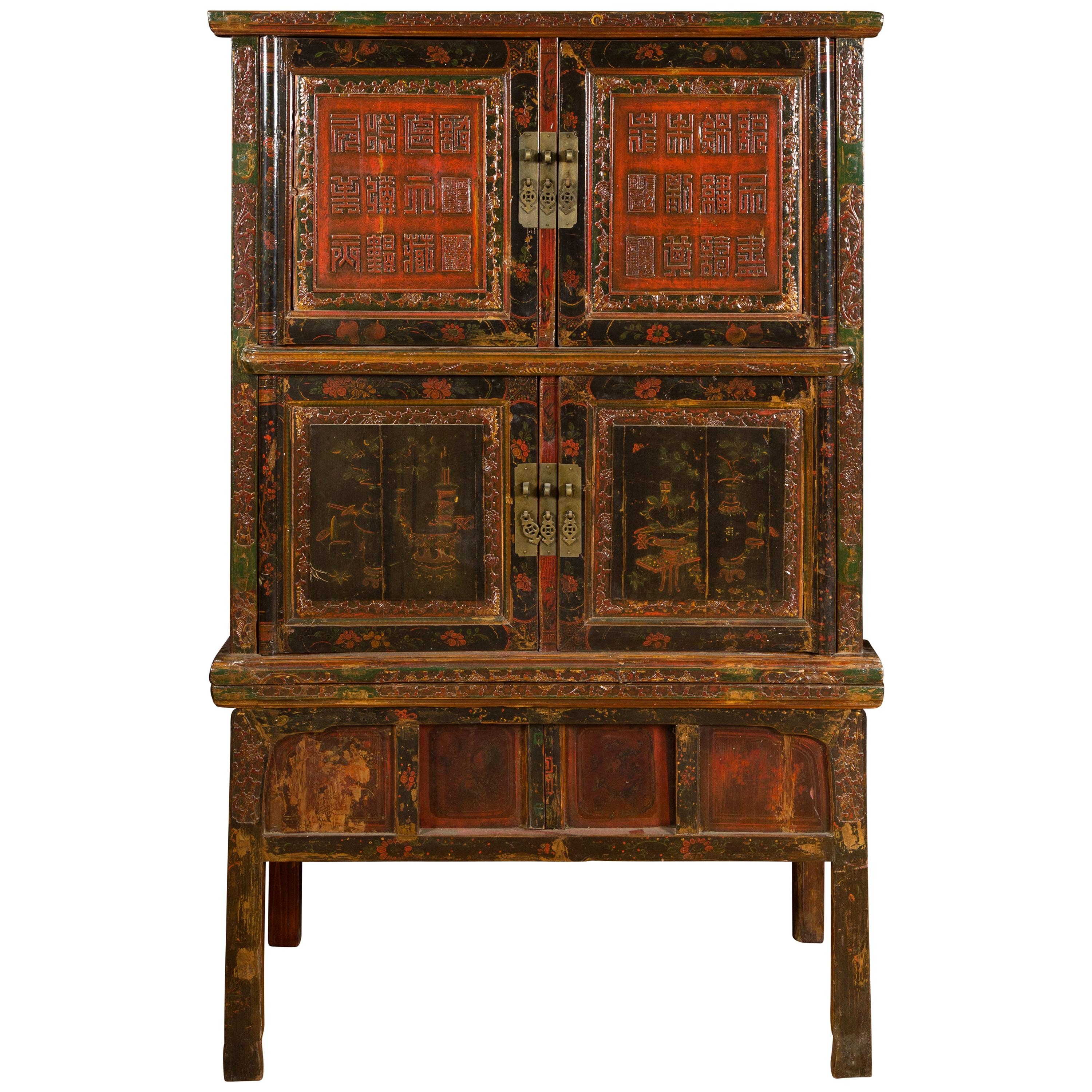 Chinese Qing Dynasty 19th Century Lacquered Cabinet with Calligraphy Motifs