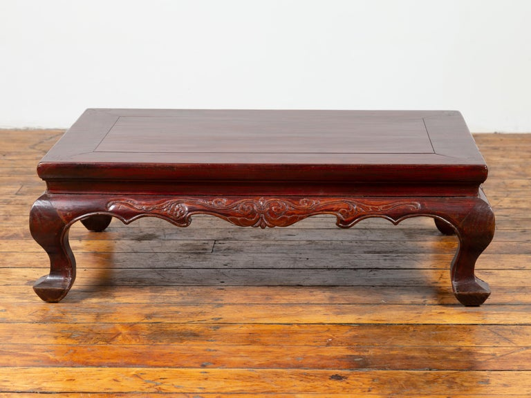 Chinese Qing Dynasty 19th Century Lacquered Wood Low Table with Cabriole Legs For Sale 6