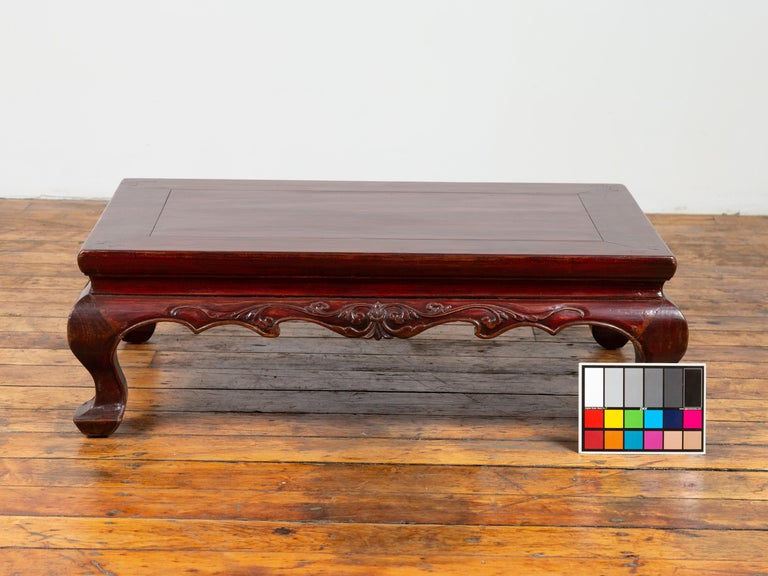 Chinese Qing Dynasty 19th Century Lacquered Wood Low Table with Cabriole Legs For Sale 8